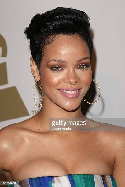 Soul singer Rihanna attends the 2009 GRAMMY Salute To Industry Icons honoring Clive Davis at the Beverly Hilton Hotel on February 7 2009 in Beverly...