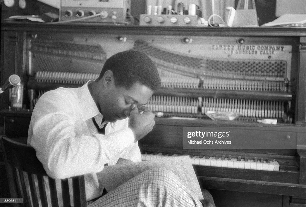 Soul singer Sam Cooke in a pensive moment at RCA recording studio circa 1960 in Los Angeles, California.