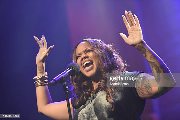 Soul singer/songwriter Chrisette Michele performs at The Apollo Theater on February 17 2016 in New York City