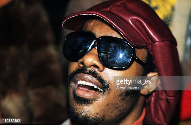 Soul superstar singer songwriter and multi instrumentalist Stevie Wonder during a visit to London in 1974 in London England