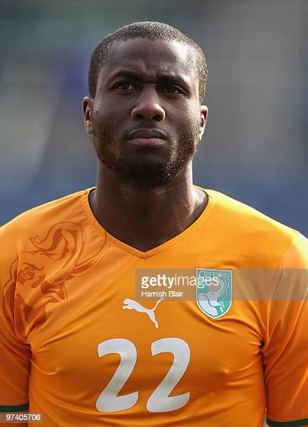 Souleman Bamba of Ivory Coast looks on during the national anthems ahead of the International Friendly match between Ivory Coast and Republic of...