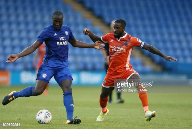 Souleymane Bamba of Cardiff City and Abu Ogogo of Shrewsbury Town during the preseason friendly between Shrewsbury Town and Cardiff City at The...