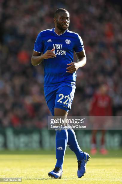 Souleymane Bamba of Cardiff looks on during the Premier League match between Liverpool and Cardiff City at Anfield on October 27 2018 in Liverpool...