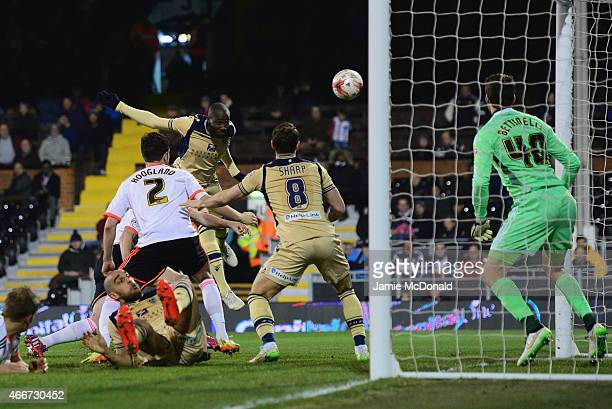 Souleymane Bamba of Leeds United scores their second goal past goalkeeper Marcus Bettinelli of Fulham during the Sky Bet Championship match between...