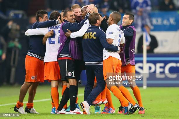 Souleymane Cam of of Montpellier celebrates the second goal during the UEFA Champions League group B match between FC Schalke 04 and Montpellier...