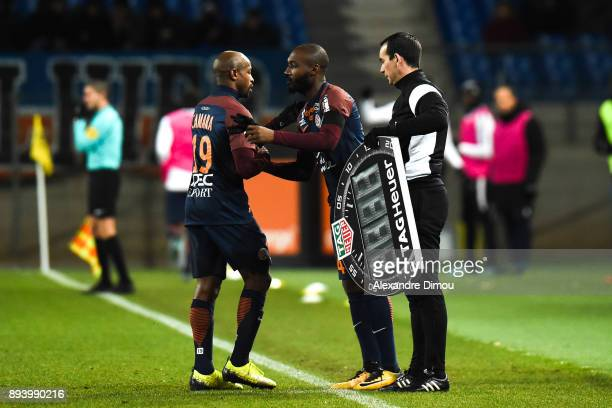 Souleymane Camara and Giovani Sio of Montpellier during the Ligue 1 match between Montpellier Herault SC and Metz at Stade de la Mosson on December...