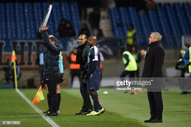 Souleymane Camara and Michel Der Zakarian Coach of Montpellier during the French Cup match between Montpellier and Lyon at Stade de la Mosson on...