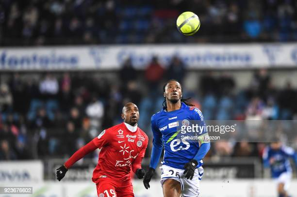 Souleymane Camara of Montpellier and Bakary Kone of Strasbourg during the Ligue 1 match between Strasbourg and Montpellier at on February 23 2018 in...