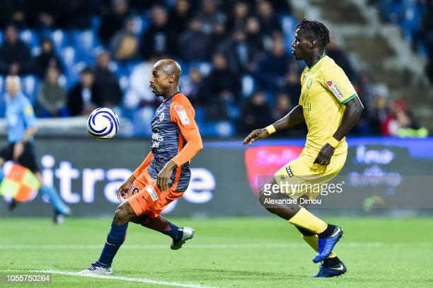 Souleymane Camara of Montpellier and Kara Mbodji of Nantes during the League Cup match between Montpellier and Nantes at Stade de la Mosson on...