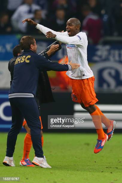 Souleymane Camara of Montpellier celebrates the second goal during the UEFA Champions League group B match between FC Schalke 04 and Montpellier...