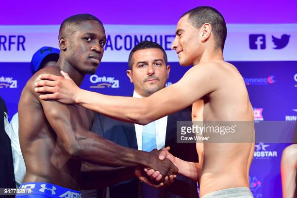 Souleymane Cissokho of France French promoter Jerome Abiteboul and Jose De Jesus Macias of Mexico during the press conference and weigh in on April 6...