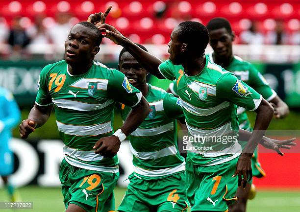 Souleymane Coulibaly of Ivory Coast celebrates a scored goal with teammates during the FIFA U17 World Cup Mexico 2011 Group F match between Ivory...