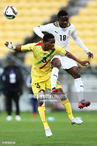 Souleymane Diarra of Mali and Barnes Osei of Ghana compete for a header during the FIFA U20 World Cup New Zealand 2015 Round of 16 match between...