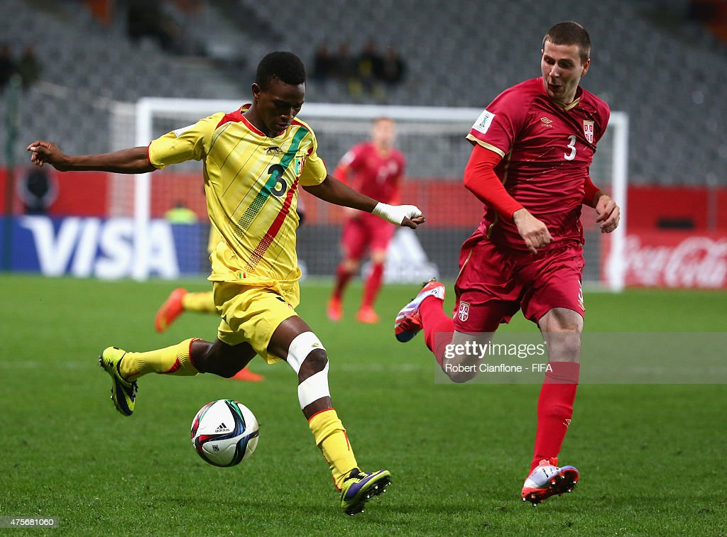 Souleymane Diarra of Mali is chased by Nemanja Antonov of Serbia during the FIFA U-20 World Cup New Zealand 2015 Group D match between Serbia and Mali at Otago Stadium on June 3, 2015 in Dunedin, New Zealand.