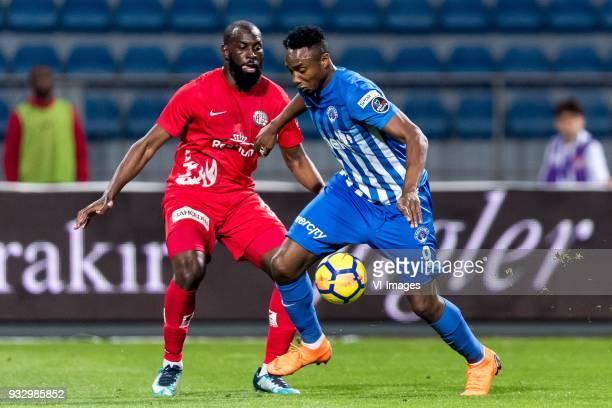 Souleymane Doukara of Antalyaspor AS BangalyFodé Koita of Kasimpasa AS during the Turkish Spor Toto Super Lig match between Kasimpasa AS and...