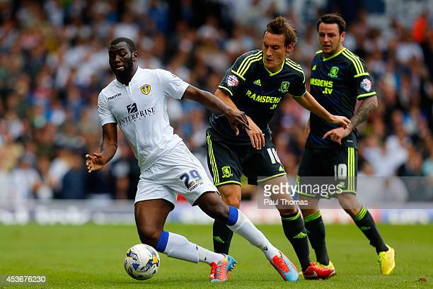 Souleymane Doukara of Leeds in action with Dean Whitehead of Middlesbrough during the Sky Bet Championship match between Leeds United and...