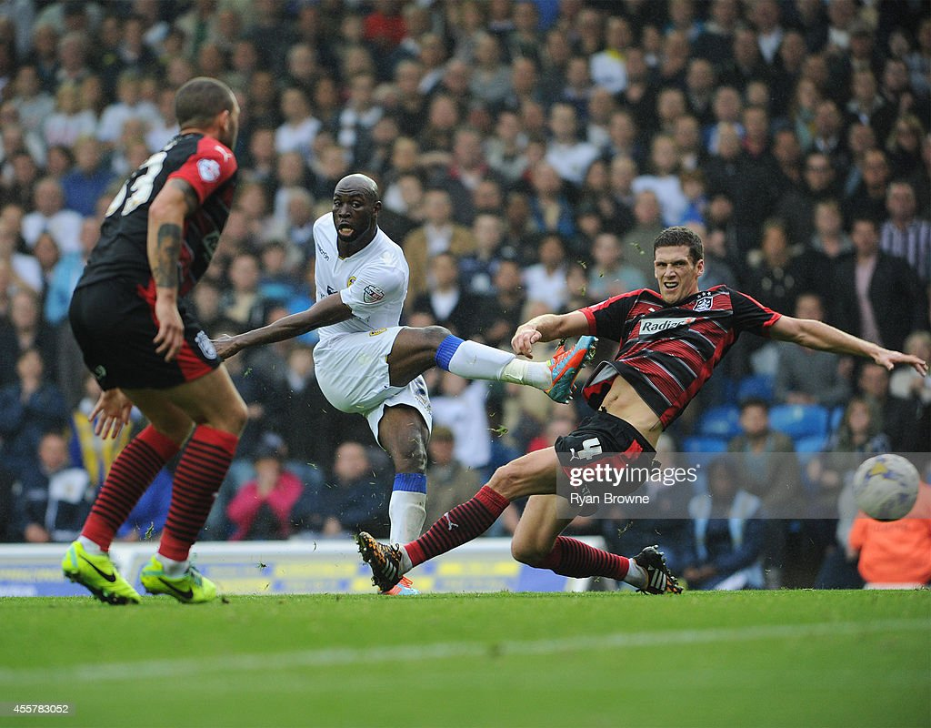Souleymane Doukara (C) of Leeds scores the third goal during Sky Bet Championship match between Leeds United and Huddersfield Town at Elland Road Stadium on September 20, 2014 in Leeds, United Kingdom.