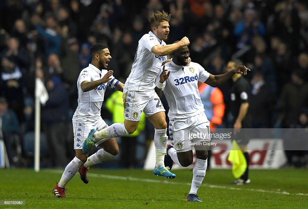 Souleymane Doukara of Leeds United (R) celebrates scoring his sides second goal with team mates during the Sky Bet Championship match between Leeds United and Nottingham Forest at Elland Road on January 25, 2017 in Leeds, England.