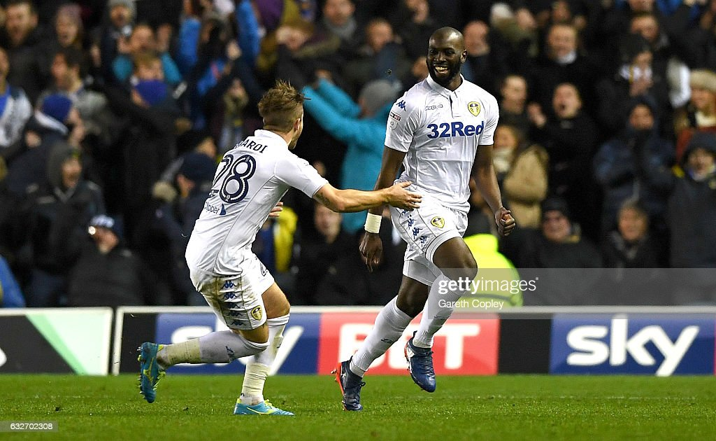 Souleymane Doukara of Leeds United (R) celebrates scoring his sides second goal with Gaetano Berardi of Leeds United during the Sky Bet Championship match between Leeds United and Nottingham Forest at Elland Road on January 25, 2017 in Leeds, England.