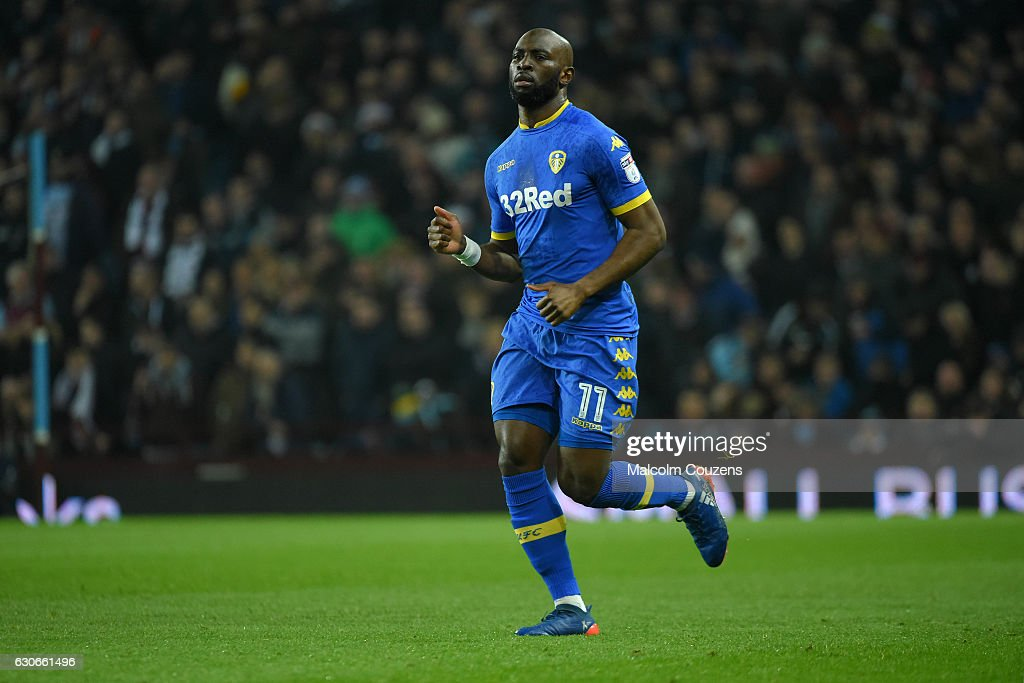 Souleymane Doukara of Leeds United during the Sky Bet Championship match between Aston Villa and Leeds United at Villa Park on December 29, 2016 in Birmingham, England.