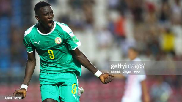 Souleymane Faye of Senegal celebrates after scoring a goal during the Group D Match between USA and Senegal in the FIFA U17 World Cup Brazil 2019 at...