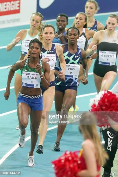 Souliath Saka, Joanna Jozwik, Emily Tuei compete during women's 800m during the World Athletics Indoor Tour at Arena Stade Couvert on February 9,...