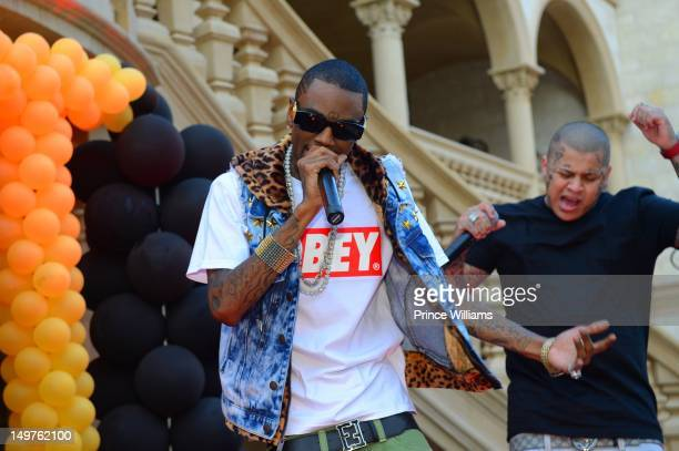 Soulja Boy performs at the sweet 16 birthday party for Young Jeezy's son Jadarius Jenkins on July 29 2012 in Atlanta Georgia