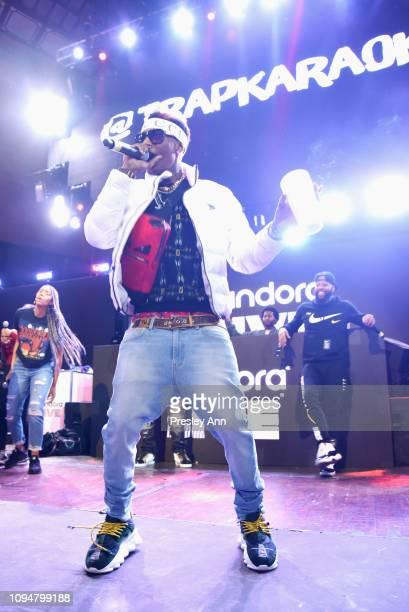 Soulja Boy performs onstage during Pandora Live Trap Karaoke at Exchange LA on February 6 2019 in Los Angeles California