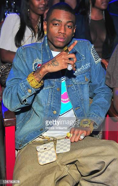 Soulja Boy seated during the BET Hip Hop Awards 2011 at the Boisfeuillet Jones Atlanta Civic Center on October 1 2011 in Atlanta Georgia
