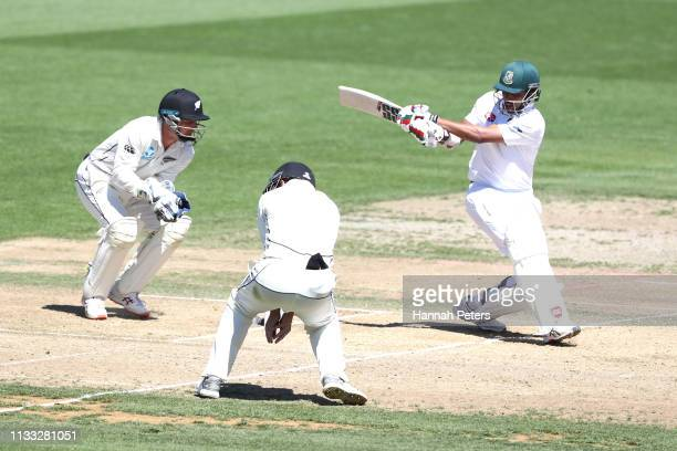 Soumya Sarkar of Bangladesh bats during day four of the First Test match in the series between New Zealand and Bangladesh at Seddon Park on March 03...