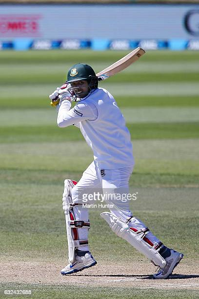 Soumya Sarkar of Bangladesh bats during day four of the Second Test match between New Zealand and Bangladesh at Hagley Oval on January 23 2017 in...