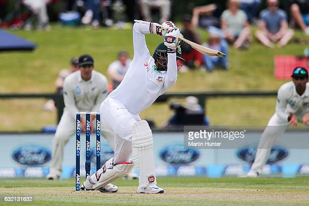 Soumya Sarkar of Bangladesh bats during day one of the Second Test match between New Zealand and Bangladesh at Hagley Oval on January 20 2017 in...
