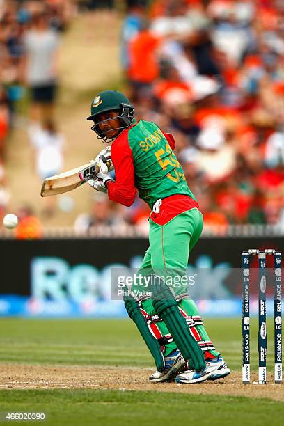 Soumya Sarkar of Bangladesh bats during the 2015 ICC Cricket World Cup match between Bangladesh and New Zealand at Seddon Park on March 13 2015 in...