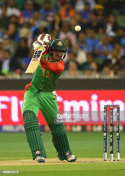 Soumya Sarkar of Bangladesh bats during the 2015 ICC Cricket World Cup match between India and Bangldesh at Melbourne Cricket Ground on March 19 2015...