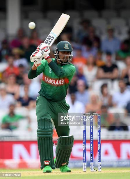 Soumya Sarkar of Bangladesh bats during the Group Stage match of the ICC Cricket World Cup 2019 between South Africa and Bangladesh at The Oval on...