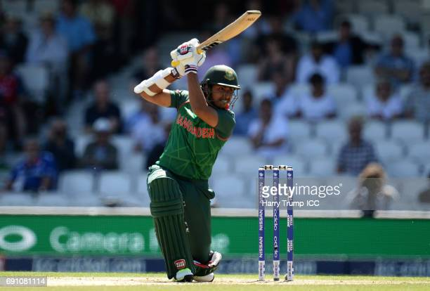 Soumya Sarkar of Bangladesh bats during the ICC Champions Trophy match between England and Bangladesh at The Kia Oval on June 1 2017 in London England