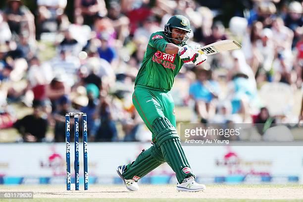 Soumya Sarkar of Bangladesh bats during the third Twenty20 International match between New Zealand and Bangladesh at Bay Oval on January 8 2017 in...