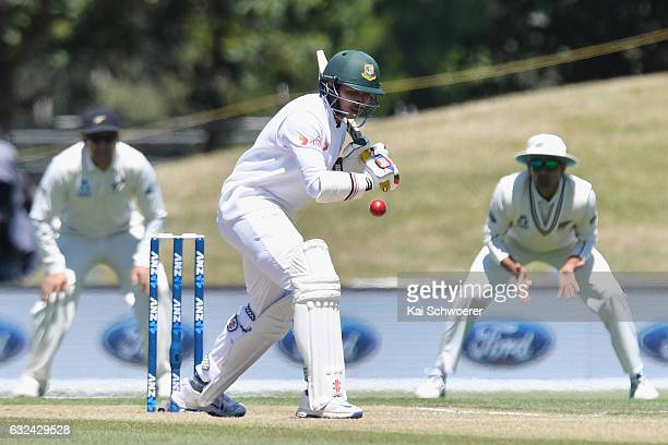 Soumya Sarkar of Bangladesh batting during day four of the Second Test match between New Zealand and Bangladesh at Hagley Oval on January 23 2017 in...