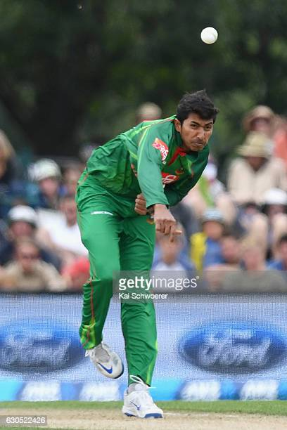 Soumya Sarkar of Bangladesh bowling during the first One Day International match between New Zealand and Bangladesh at Hagley Oval on December 26...