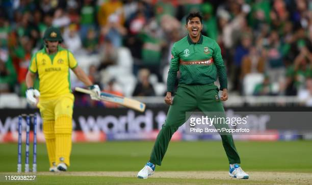 Soumya Sarkar of Bangladesh celebrates after dismissing Aaron Finch of Australia during the ICC Cricket World Cup Group Match between Australia and...