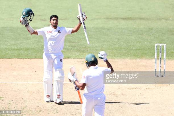 Soumya Sarkar of Bangladesh celebrates after scoring a century during day four of the First Test match in the series between New Zealand and...