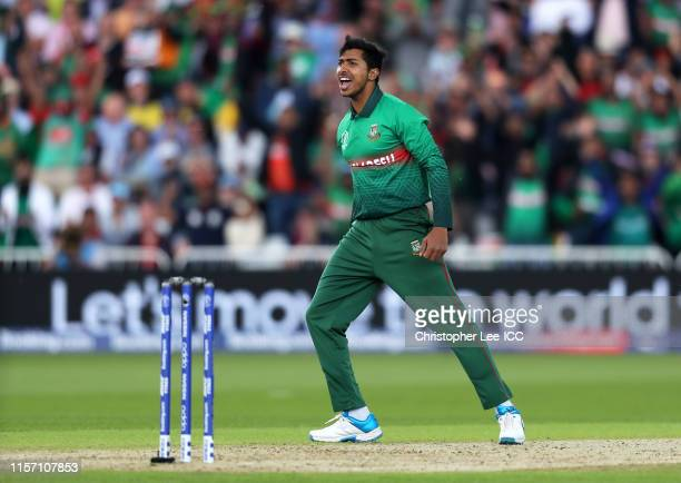 Soumya Sarkar of Bangladesh celebrates after taking the wicket of Aaron Finch of Australia during the Group Stage match of the ICC Cricket World Cup...