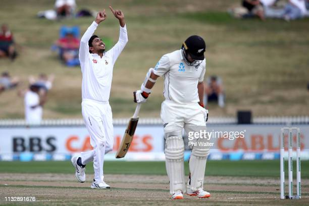 Soumya Sarkar of Bangladesh celebrates his wicket of Tom Latham of New Zealand during day two of the First Test match in the series between New...