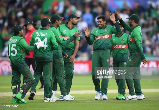 Soumya Sarkar of Bangladesh celebrates the wicket of Aaron Finch of Australia during the Group Stage match of the ICC Cricket World Cup 2019 between...