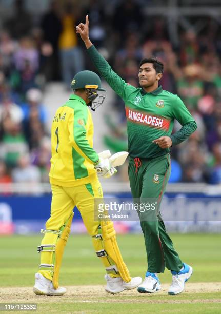 Soumya Sarkar of Bangladesh celebrates the wicket of Glenn Maxwell of Australia during the Group Stage match of the ICC Cricket World Cup 2019...