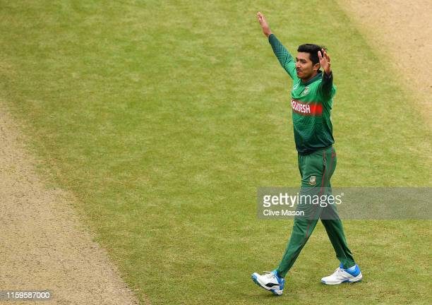 Soumya Sarkar of Bangladesh celebrates the wicket of Rohit Sharma of India during the Group Stage match of the ICC Cricket World Cup 2019 between...