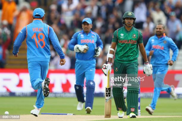 Soumya Sarkar of Bangladesh hads back to the pavillion after being bowled by Bhuvneshwar Kumar of India during the ICC Champions Trophy SemiFinal...