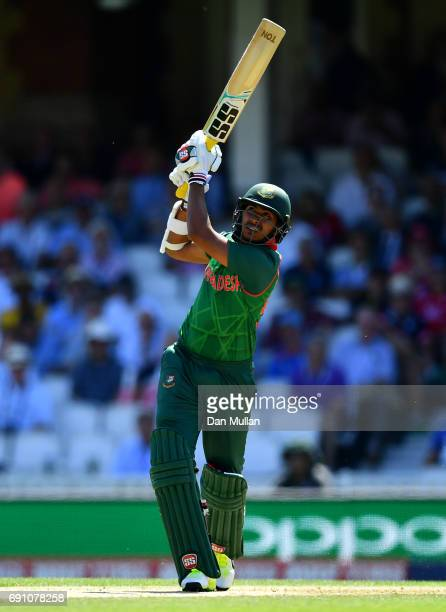 Soumya Sarkar of Bangladesh hits a six during the ICC Champions Trophy Group A match between England and Bangladesh at The Kia Oval on June 1 2017 in...