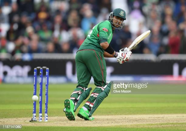 Soumya Sarkar of Bangladesh in action batting during the Group Stage match of the ICC Cricket World Cup 2019 between Australia and Bangladesh at...