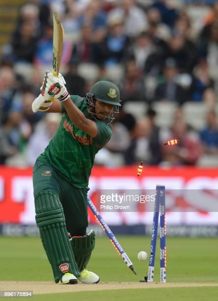 Soumya Sarkar of Bangladesh is bowled by Bhuvneshwar Kumarof India during the ICC Champions Trophy match between Bangladesh and India at Edgbaston...